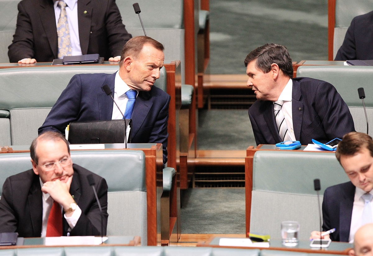 Mr Andrews and Tony Abbott during question time in December, 2015.