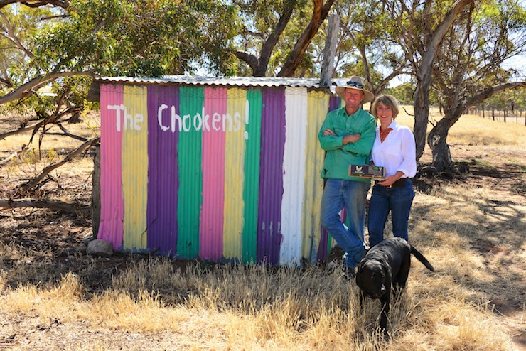Bill and Sally Hood in front of the chook shed they used before they went commercial.
