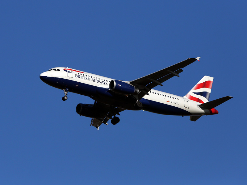 A British Airways Airbus A320 plane similar to the one that was struck.