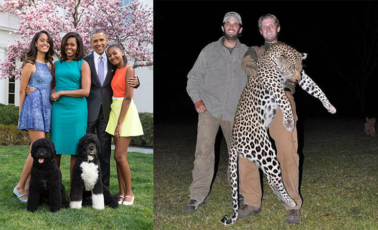 Compare the pair: while the Obamas are the epitome of understated elegance and class, the Trumps ... well .... the picture speaks for itself.