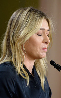 Sharapova was upset when announcing her positive test. Photo: Getty