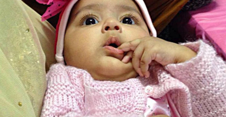 Sanaya's mother said the toddler was stolen from a pram by a stranger.