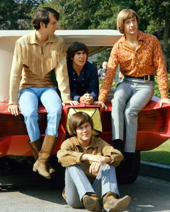 Guitarist Mike Nesmith, singer Davy Jones, bassist Peter Tork and drummer Micky Dolenz (on the ground) in their heyday. Photo: Getty