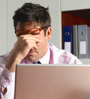 We blink less when we stare out our computers, which drys our eyes out. Photo: Getty