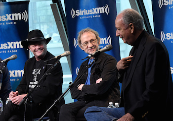 L-R: Micky Dolenz, Peter Tork, and Michael Nesmith of The Monkees promoting their new album this month. Photo: Getty