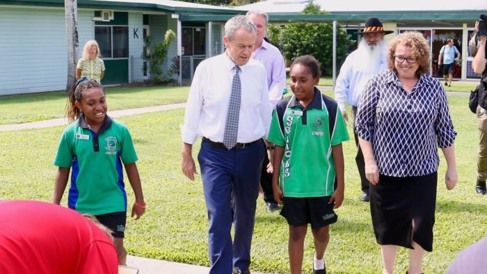 Labor leader Bill Shorten visits at a Queensland school this week.
