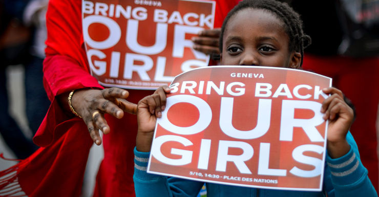 A demonstration in Europe in May 2014 soon after the Nigerian school girls were kidnapped.