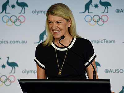 Olympic Chef de Mission Kitty Chiller speaks at the announcement of the Australian Olympic shooting team for the 2016 Rio Olympics, in Sydney, Friday, April 8, 2016. (AAP Image/Dan Himbrechts) NO ARCHIVING