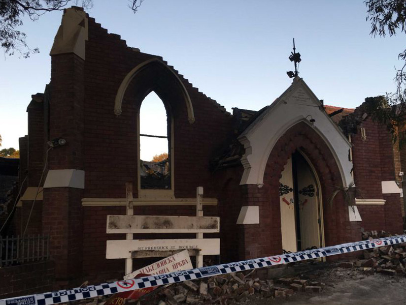 The Macedonian Orthodox Church at Rockdale was gutted by fire.