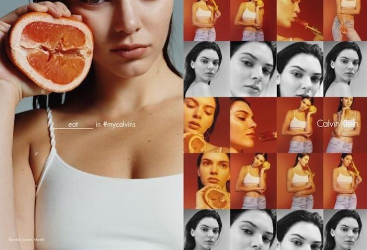 Kendall Jenner poses provocatively with a grapefruit for the campaign.