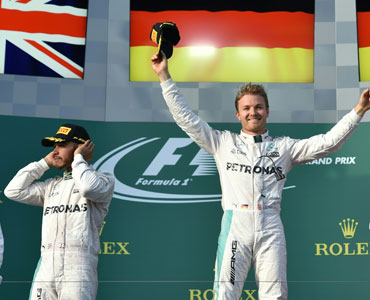 History repeats - sort of - as Rosberg celebrates a 2016 win. Photo: Getty
