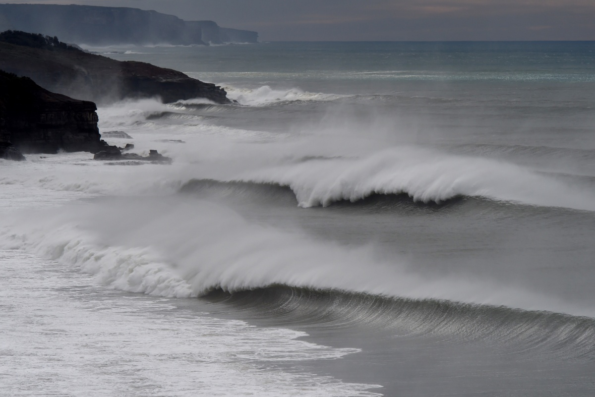 Huge swell continues to pound the New South Wales south coast at Stanwell Park near Wollongong.