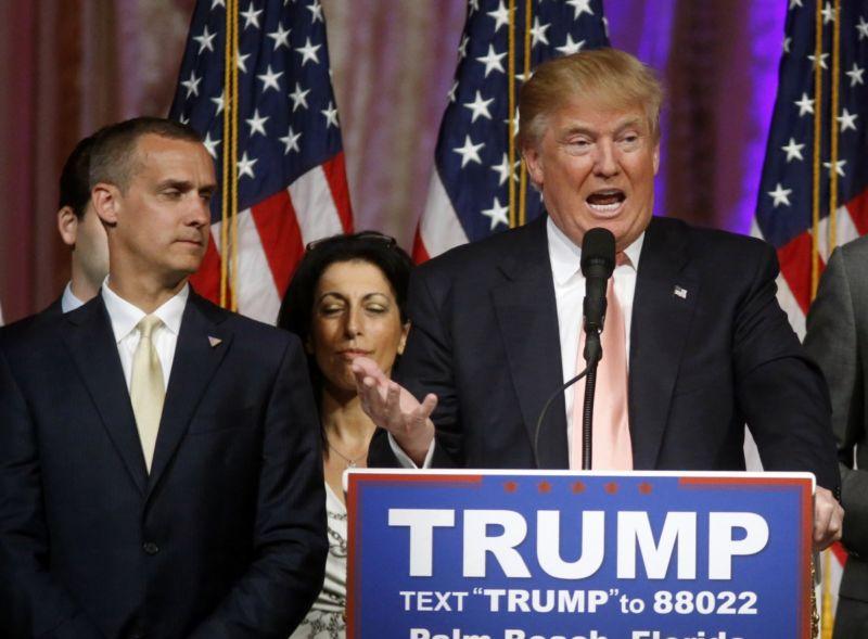 Donald Trump in happier times with Corey Lewandowski (left). Photo: AAP.