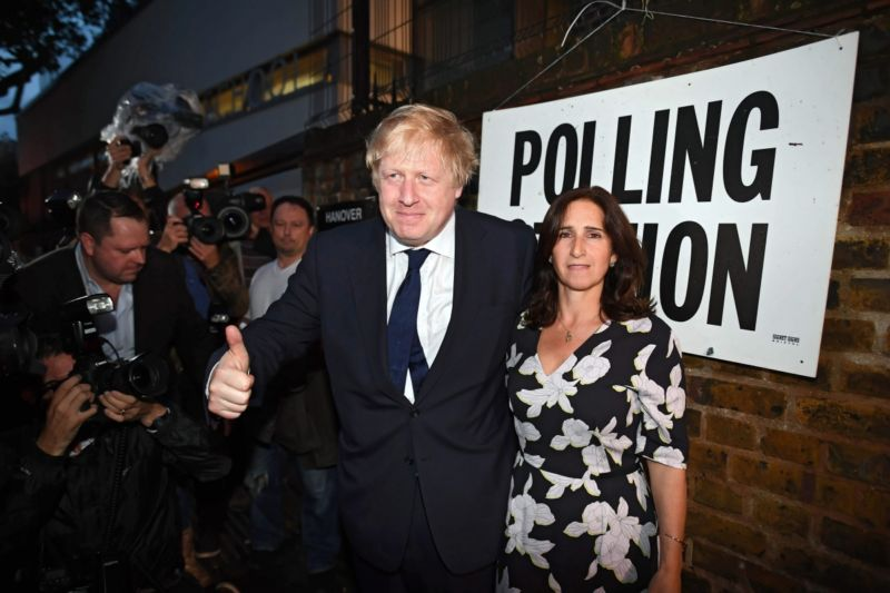 Former London Mayor Boris Johnson and wife Marina Wheeler attend a polling station in North London. Photo: AAP