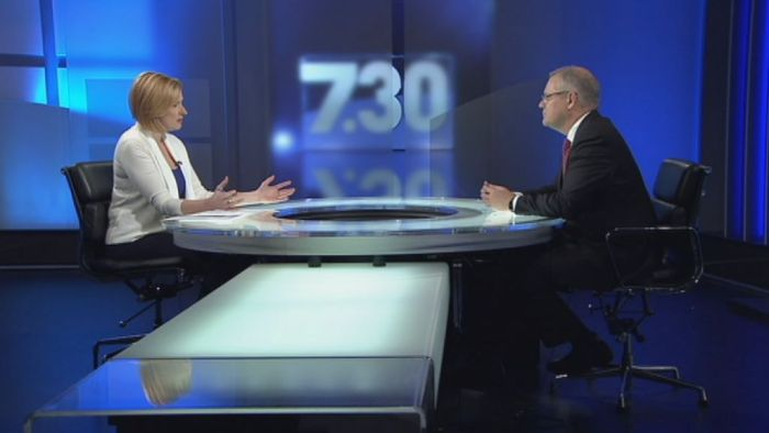 Scott Morrison is interviewed by Leigh Sales. Photo: ABC.