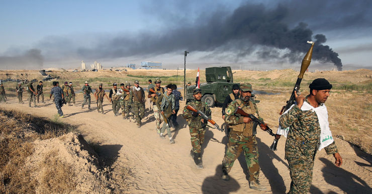 Iraqi pro-government forces advance towards Fallujah late last month.