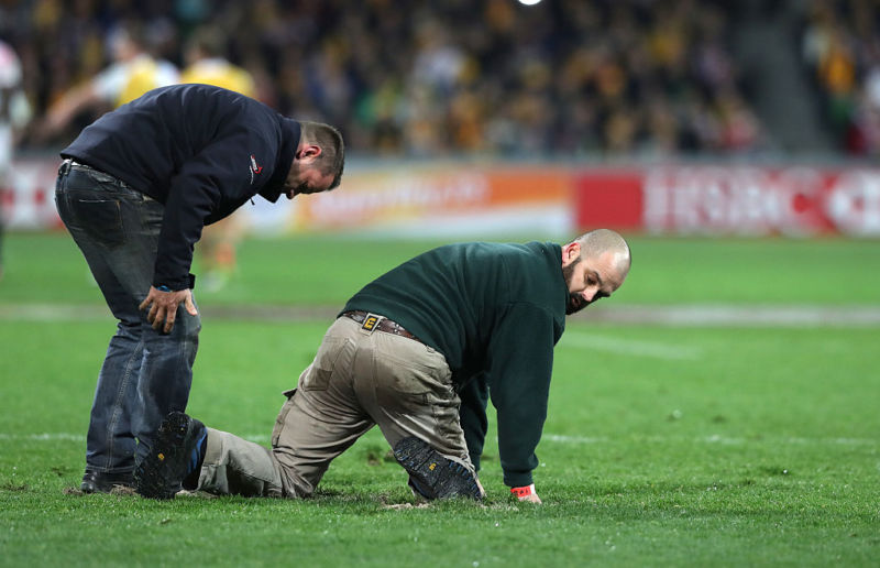 MELBOURNE, AUSTRALIA - JUNE 18: Groundsmen replace the loose divots after a scrum during the International Test match between the Australian Wallabies and England at AAMI Park on June 18, 2016 in Melbourne, Australia. (Photo by David Rogers/Getty Images)