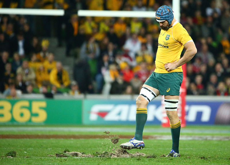 MELBOURNE, AUSTRALIA - JUNE 18: Scott Fardy of the Wallabies kicks the turf after it was ripped up in a scrum in the first half and the players had to move to rehold the scrum during the International Test match between the Australian Wallabies and England at AAMI Park on June 18, 2016 in Melbourne, Australia. (Photo by Scott Barbour/Getty Images)