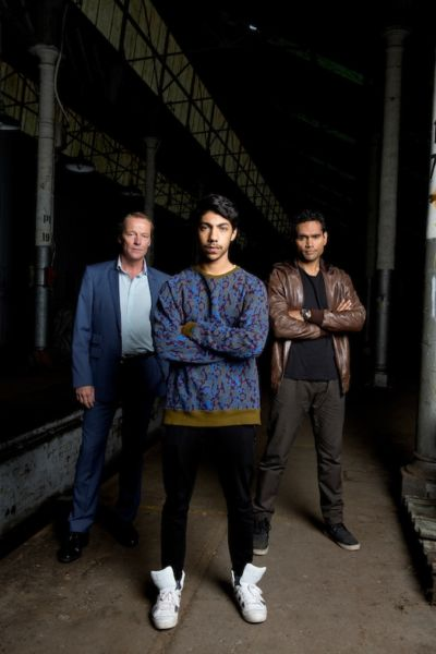 Jarrod Slade (Iain Glen), Koen West (Hunter Page-Lochard) and Waruu West (Rob Collins). Photo: ABC
