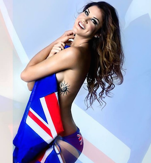 Anna Flanagan poses with the Australian flag. Photo: Instagram
