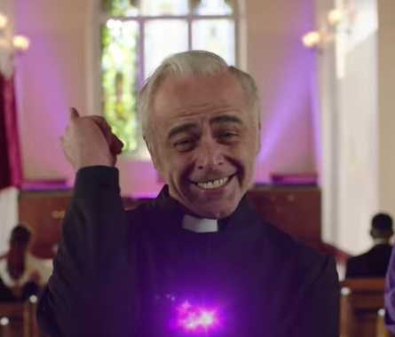 The ad stars a camp priest. Photo: YouTube