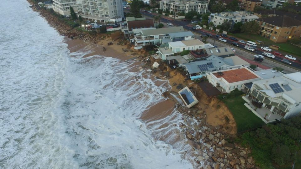 A drone image of a hard-hit sector of Sydney's northern beaches.