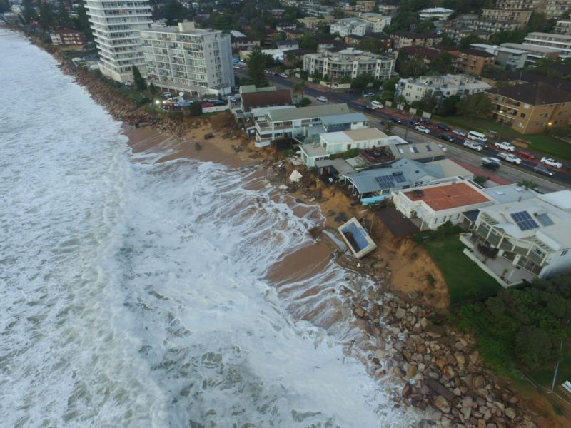 A drone image of Sydney's Collaroy.