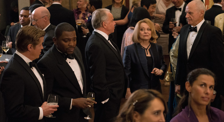 Jacki Weaver (second from left) stars as the Attorney General. Photo: Foxtel