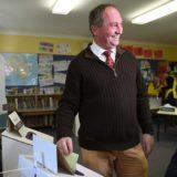 Barnaby Joyce, casts his vote at Woolbrook public school, near Tamworth.