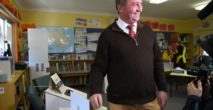 Barnaby Joyce, casts his vote at Woolbrook public school, near Tamworth.