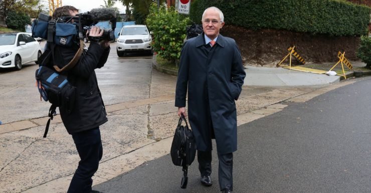 Malcolm Turnbull at his home on Wednesday morning.