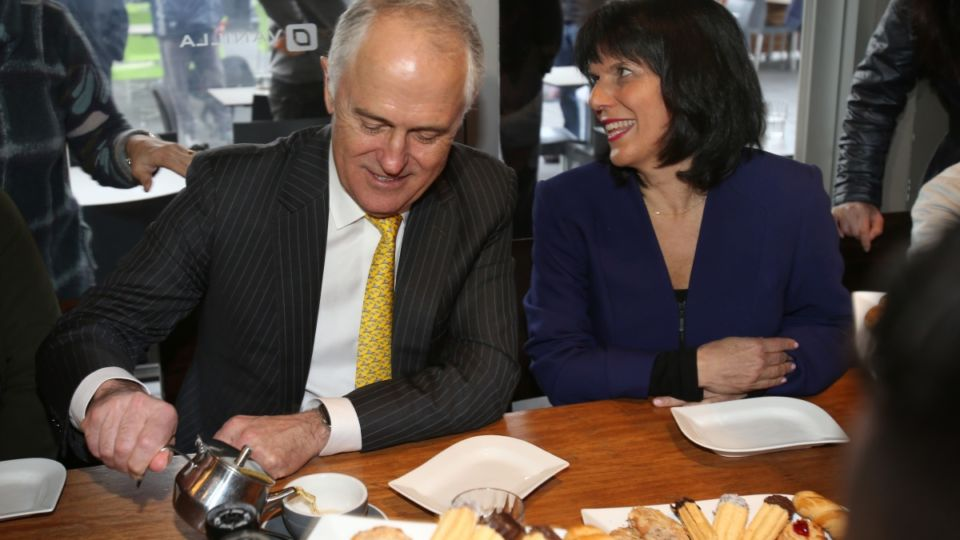 PM Malcolm Turnbull in Melbourne with Liberal candidate for Chisholm Julia Banks .