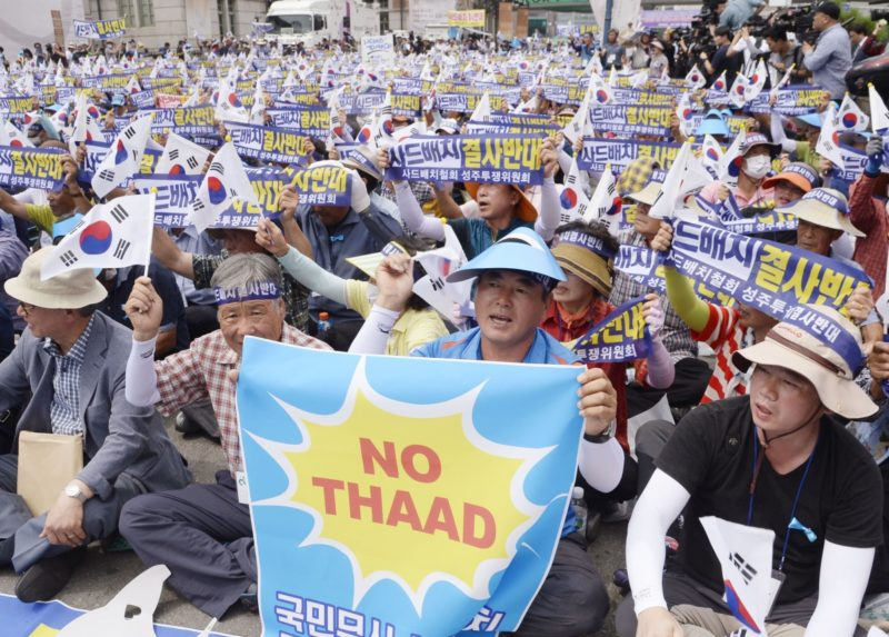 South Korean protest against the decision to deploy THAAD. Photo: AAP