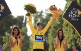 Team Sky's Chris Froome celebrates after winning his third Tour De France.