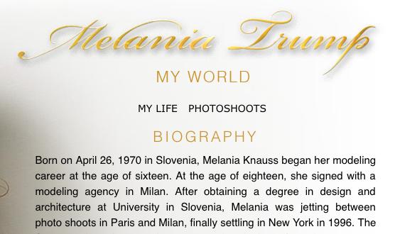 Melania Trump's oonline biography details her university education.