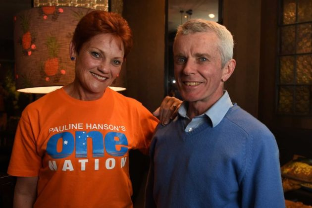 One Nation leader Pauline Hanson with Malcolm Roberts, number two on her senate ticket.