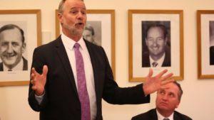 Nigel Scullion (standing) may lose his Indigenous affairs portfolio.