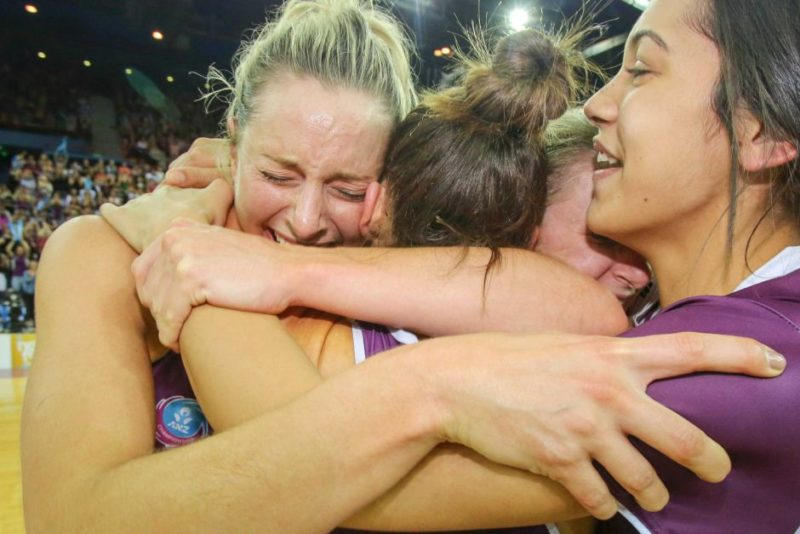 Tears of joy ... Laura Geitz lets the emotions flow after full-time.