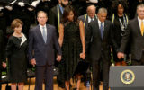 Laura and George Bush with the Obamas in Dallas.