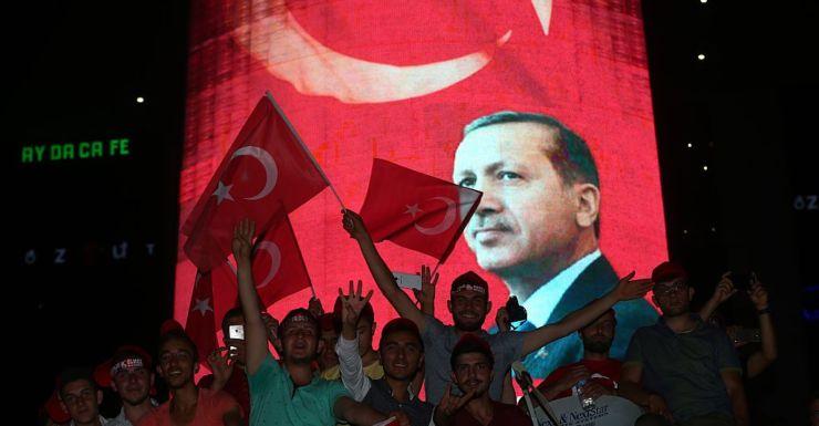 People at a rally in Ankara for Turkish President Recep Tayyip Erdogan.