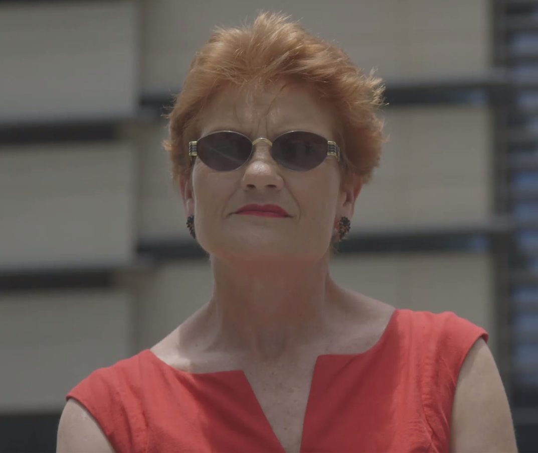 pauline hanson makes potentially racist comment to aboriginal man. Black Bedroom Furniture Sets. Home Design Ideas