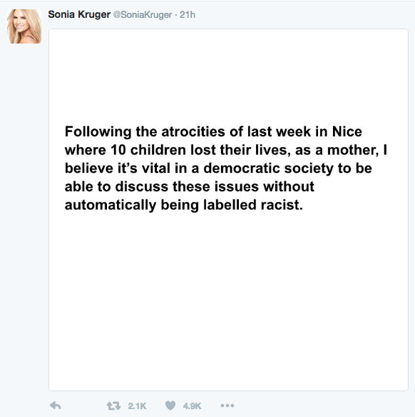 Kruger's subsequent statement on Twitter on Monday. Source: Twitter.