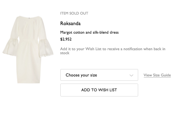 The dress is no longer available on Net-a-Porter despite its steep price.