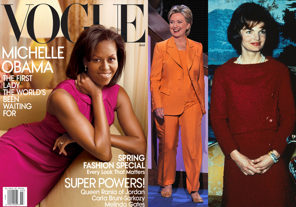 L-R: Michelle Obama, Hillary Clinton and Jackie Onassis all paved their own way. Photo: Getty