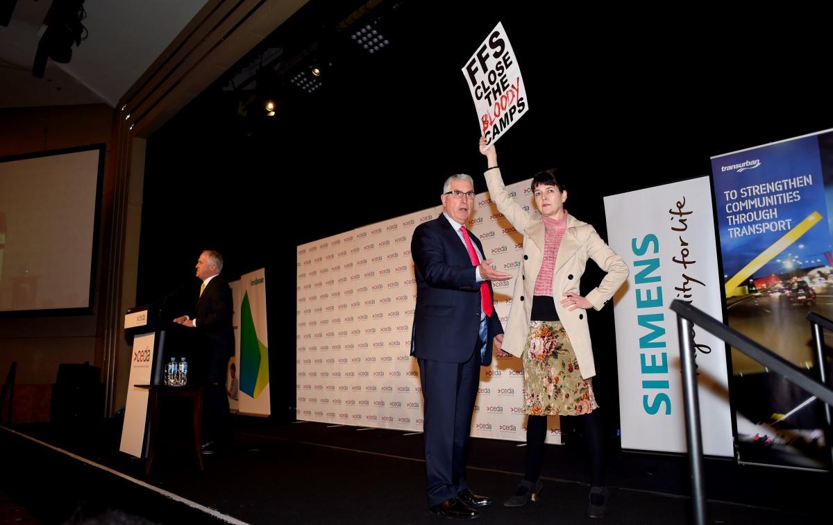 malcolm turnbull speech protestors