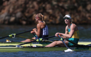 Brennan takes gold in the women's sculls.