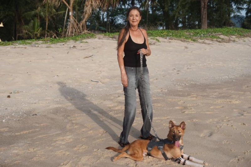 Soi Dog Foundation co-founder Gill Dalley, a double-amputee herself, fell in love with Cola and has adotped him.