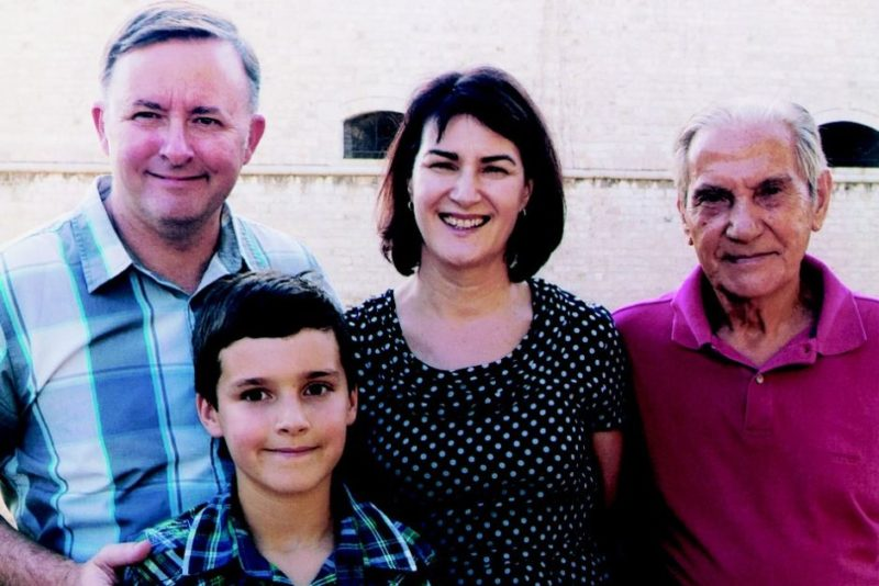 Anthony Albanese (left) with his wife Carmel Tebbutt (centre), father Carlo (right) and son Nathan (front) in Italy 2011.