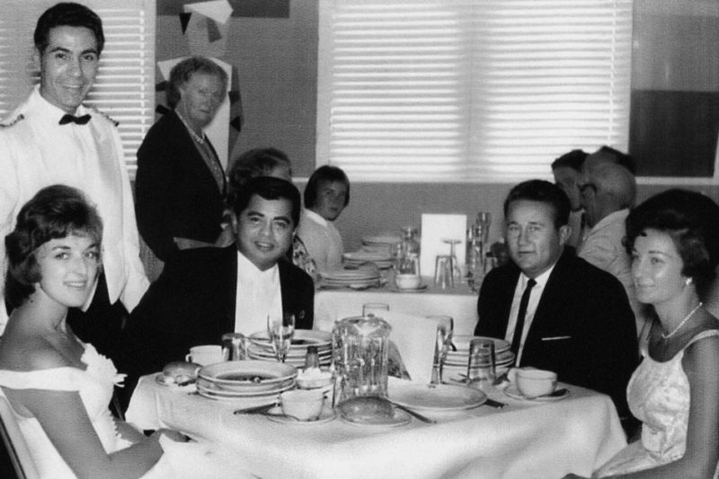 Maryanne (right) with her brother and friends in the Fairsky dining room with Carlo Albanese (standing left).