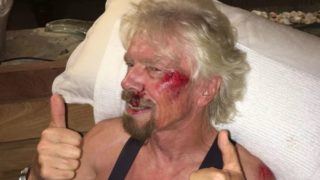 Richard Branson bicycle crash